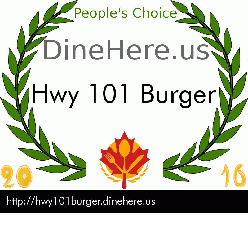 Hwy 101 Burger DineHere.us 2016 Award Winner